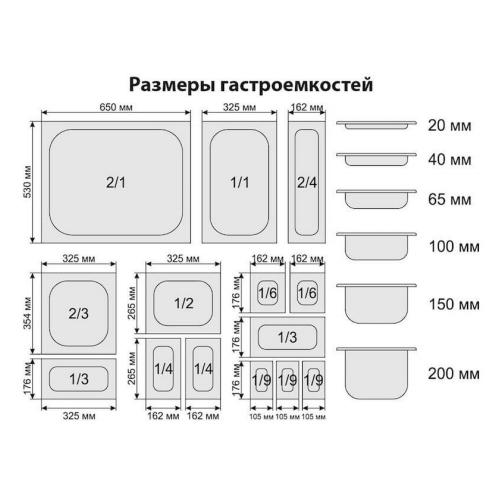 Салат-бар охлаждаемый 0,7х0,57м (2 больших гастроемкости GN1/1)